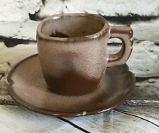 Vintage Frankoma Mid Century Demitasse Cup 5DC Scalloped Saucer 5DE Expresso Cup