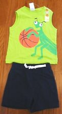 NWT Gymboree 2016 Lime Green Tank Top + Navy Blue Shorts Boy's Size 6-12 Months