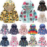 Kids Boys Girls Autumn Spring Hoodie Floral Printed Coat Hooded Outwear Jacket