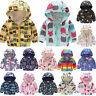 Kids Boys Girls Toddler Waterproof Hooded Windbreaker Coat Jacket Zip Outerwear