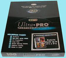 "100 ULTRA PRO PLATINUM 4 POCKET MINI pages 2-1/2""x3-1/2"" team set album sheets"