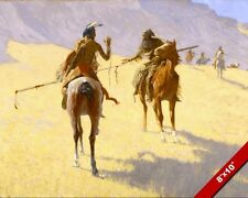 THE INDIAN & COWBOY PARLEY PARLAY ART OF AMERICAN WEST OIL PAINTING CANVAS PRINT