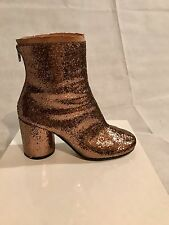 MARGIELA SOLD OUT BRONZE/GOLD GLITTER ROUND TOE ANKLE BOOT SZ 37.5
