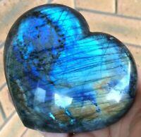 397g X-LARGE LABRADORITE (BLUE FLASH) POLISHED CRYSTAL GEMSTONE HEART (10cm)