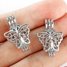 5X Silver Plated Hollow Butterfly Pearl Cage Locket Pendant For DIY Necklace
