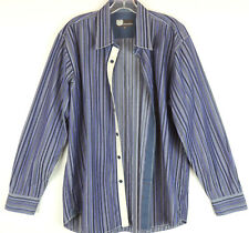 Equilibrio Mens XL Purple & Gray Striped White Ribbon Button Down Dress Shirt