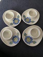 More details for four vintage flintz egg cups white with blue floral vintage stunning