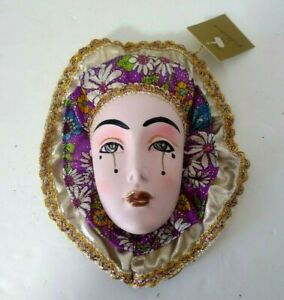 Vintage K's Collection Ceramic Mini Face Mask w/Ruffles  Wall Hanging Decor