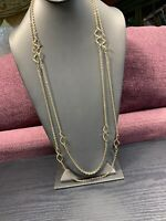 """Women's Ladies Necklace Gold Tone Two strand  32"""" Twisted Charm Sweater Length"""