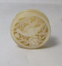 HAND CARVED BIRD,Round, Needle & Pin Case  MOTHER-of-PEARL;ANTIQUE c1800's