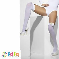 WHITE OPAQUE SHEER HOLD UPS STOCKINGS + COGS BOWS ladies womens hosiery