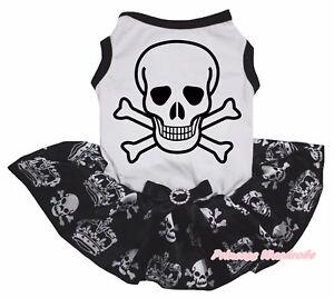 Skeleton Halloween White Top Black Crown Skull Tutu Pet Dog Puppy Cat Dress Bow