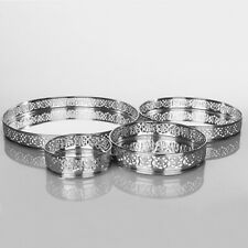 Round Silver Mirror Candle Centerpiece Serving Decorative Plate Tray Gift Set