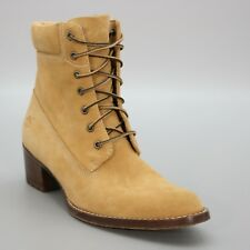 Timberland Ladies 6.5 M Wheat Tan Suede Heel Chunky Ankle Boots Lace Up 67317