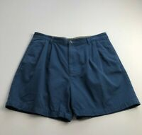 VTG Tommy Hilfiger Men's Pleated Front Casual Shorts 38 Blue Pockets Crest Logo