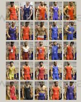 Poster: Young Russian wrestlers in singlets at weigh-in. Reprint. Gay interest.