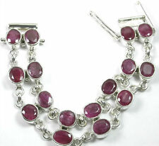 Bracelet with 2 Rows of 16 Large Rubies Sterling Silver