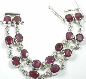 Bracelet with 2 Rows 16 Large Rubies Sterling Silver Statement Mother of Bride