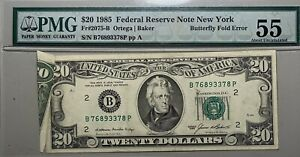 1985 $20 Federal Reserve Note New York Butterfly Fold Error PMG AU 55