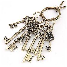 D31 Antiqued Gold Dangling Skelaton Keys Charm Metal Necklace Boutique