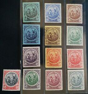 BARBADOS 1916 KG V 1/4d to 3s SG 181 - 200 Sc 127 - 139 Seal set 11 + 2  MLH/MH