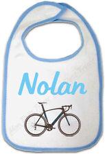 Bavoir Bébé Bleu Vélo avec Prénom Personnalisé