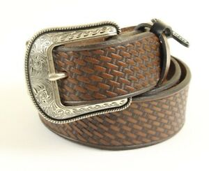 "Men's Brown Genuine Leather Belt Basket Weave Embossed 1.5"" Width Made In USA"