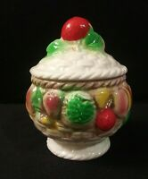 Vintage Made in Japan Porcelain Footed Sugar Bowl/Trinket Box Fruit/Basket