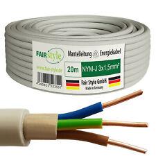 20m NYM-J 3x1,5 mm² Mantelleitung Elektro Strom Kabel Kupfer eindrähtig