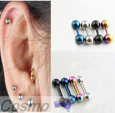 8 Pcs Stud Earring Boy Girl Round Awesome Cool Black Silver Mix Blue Colour 4mm