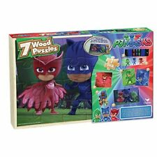 PJ Masks 7 Wood Puzzles In Wooden Storage Box Cartoon Challenging Learning NEW