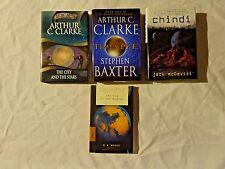 Lot of 4 SciFi Books incl. HC DJ Arthur C Clarke Science Fiction 100% to Charity