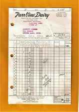 1959 FARR VIEW DAIRY MILK BOTTLE DELIVERY RECEIPT FRUITPORT MUSKEGON MICHIGAN
