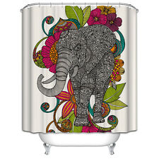 Elephant Shower Curtain Black White Colorful Flowers Tribal Design Pattern