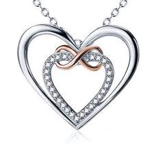 Herz Infinity Schleife Kette Anhänger 925 Sterling Silber Rosegold Herzen Liebe