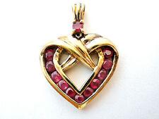 Rubí Colgante Corazón Vermeil Oro Plata de Ley Rojo Piedra Preciosa 925 Slide