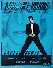 """DAVID BOWIE """"SOUND + VISION TOUR 1990"""" LOS ANGELES DODGER STADIUM CONCERT POSTER"""
