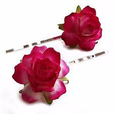 A Pair of Rose Hair Clips. Bridesmaid Festival Bridal Flower Bobby Grips Slides