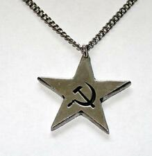 Communist Star (Hammer and Sickle) Necklace, English Pewter, Punk, USSR (ib-24)