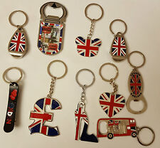I LOVE LONDON .ENGLAND, UNION JACK 12 KEYCHAINS   ENGLAND SOUVENIRS  KEY RINGS