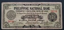 Philippines currency Emergency  currency money CEBU 1941 5 PESOS