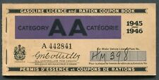 CANADA REVENUE GASOLINE LICENCE AND RATION COUPON BOOK
