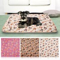 Warm Pet Mat Cat Dog Puppy Paw Bone Printed Fleece Soft Blanket Bed Cushion