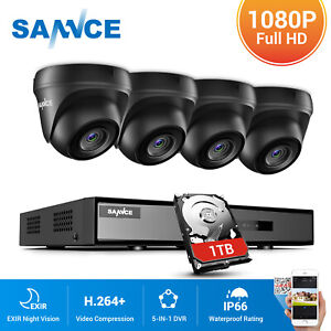SANNCE Security Camera System 5IN1 DVR Home Outdoor Night Vision 1080P Camera 1T