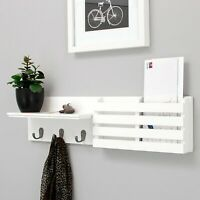 Wall Shelf Book Organizer and Mail Holder with 3 Hooks, 24-Inch by 6-Inch, White