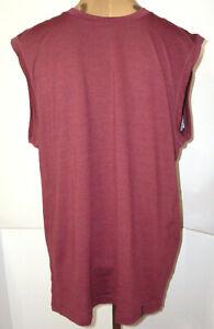 New Mens M NWT Prana Breathe Maroon Sleeveless Shirt Recycled Sustainable Logo