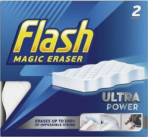 Flash Ultra Power Magic Eraser, Removes Impossible Stains Like Crayon on Walls