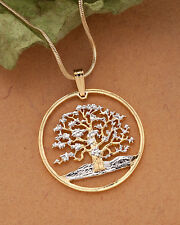"Tree Of Life Pendant & Necklace.Neui Coin Hand cut. 1-1/8"" diameter ( # 646 )"