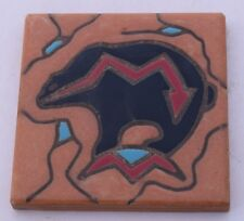 Art Tile Ceramic Trivet Italy Black Bear with Red Arrow, turquoise accents