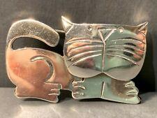 "Vintage Sterling Silver Large Bold Head Feline Cat lady Brooch/ Pin 1 7/8"""